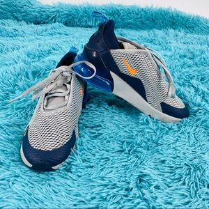 Nike Air Max 270 little kids.  Navy, gray, orange